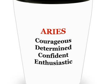 Aries Shot Glass - Zodiac Sign Gift Idea 1.5 oz Durable Ceramic