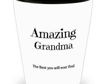 Grandma Shot Glass - Unique Amazing Gift Idea 1.5 oz Durable Ceramic