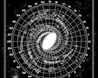 BINARY STAR Silver Foil Galactic Map