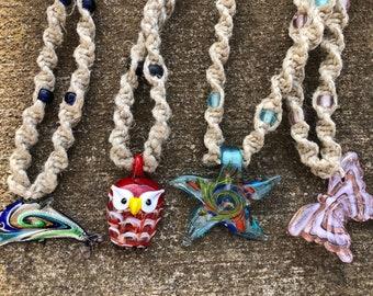 Glass Pendant Hemp Necklaces
