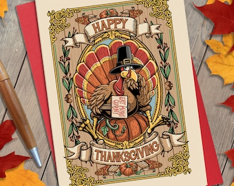 Happy Thanksgiving Illustration Greeting Card, Holiday Card, Vertical Card, Turkey, Autumn, Fall, Stationary