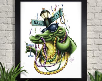 Mardis Gras Gator Illustration, Holiday Giclee Art Print, New Orleans, Carnival, Cocktail, Beads, Alligator, Wall Art, Home Decor