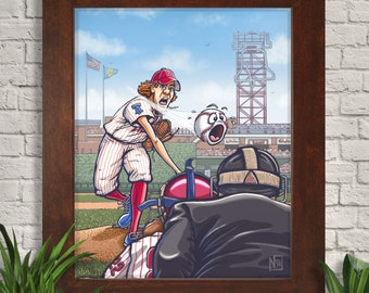 Philadelphia Phillies Giclee Art Print, Kids Room, Childrens Room, Wall Art, Home Decor, Sports Art, Baseball, Kidlit Illustration