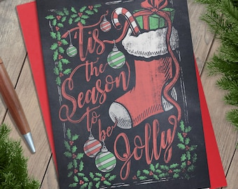 Christmas Chalkboard Illustration Greeting Card, Holiday Card, Tis the Season to be Jolly, Chalk, Lettering, Typography, Script, Stationary