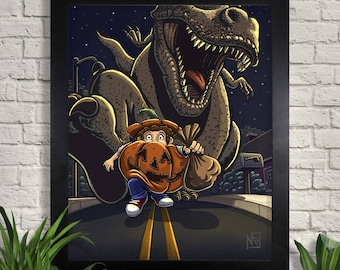 Take Only One Illustration Giclee Art Print, Halloween Wall Art, Trick or Treat, Pumpkin, T-Rex, Dinosaur Wall Decor, Home Decor