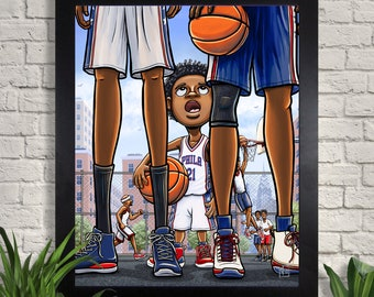 Trust The Process Illustration Giclee Art Print, Basketball Art, Philadelphia 76ers, Philly, NBA, Childrens Room, Wall Art, Home Decor
