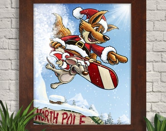 Snowboarding Santa Fox Illustration Giclee Art Print, Fox, Christmas Wall Art, Holiday Wall Decor, Festive Wall Art, Home Decor, Winter Art