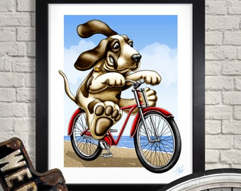 Basset Hound Art Print, Riding Bicycle Illustration, Giclee, Dog, Kid's Room, Children's Room, Bike, Canine, Wall Art, Home Decor, Nursery