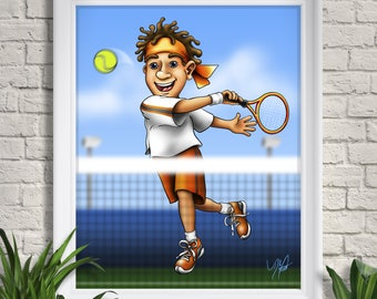 Tennis Player Art Print, Illustration Giclee, Youth Sports, Kids, Children, Racquet, Ball, Swing, Wall Art, Home Decor