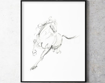 H02, Abstract horse sketch Equine black and white minimalist art print from original pencil drawing by Ann Adams Wall decor CC