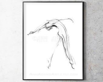 Drawing Pencil Sketch Dance Figure Nude Minimalist Art Print From Original Abstract Artwork By Ann Adams Single Sale