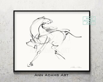 HORSE RACING CARTOON DRAWING REPRODUCTION ART PRINT A1 A2 A3 A4