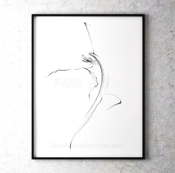 10r Abstract Art Dancing Figure Drawing Nude Gesture Movement Pencil Sketch Print From Original Artwork By Ann Adams Single Print Sale
