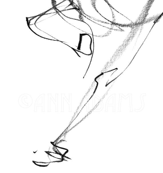 H05 Dessin De Cheval Abstrait Minimaliste Noir Et Blanc Art Dart Dart Dart Dart De Dessin De Lesquisse Originale De Crayon Par Ann Adams