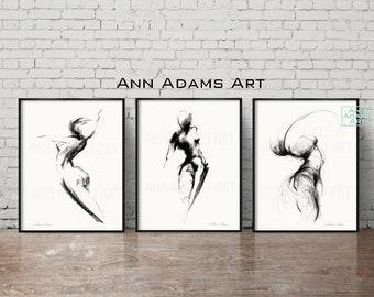Set of 3, Abstract art nude charcoal drawing minimalist sketch wall art female figure art prints from original art by Ann Adams, 28L-26R-29R