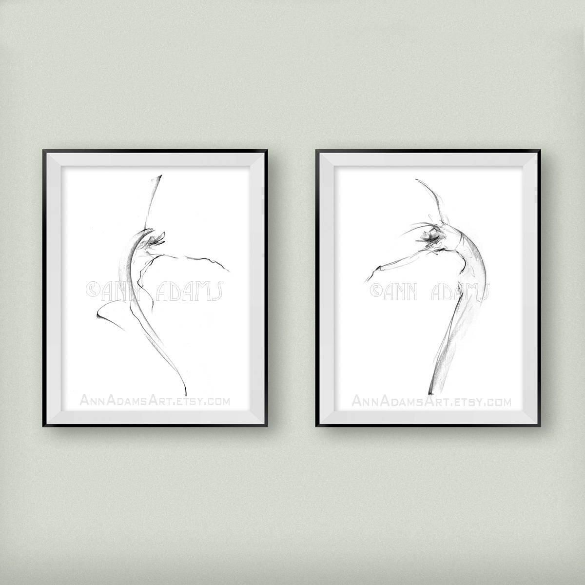 10l 22 minimalist sketch pencil drawing nude art abstract nude figure illustration dance art print from original art by ann adams set of 2