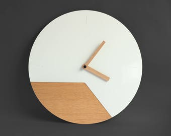 "Designer wall clock ""Zeitraum"" 4Kant Designs© white - high gloss, minimalist"