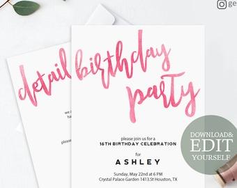 Birthday invitation etsy pink birthday invitation editable pdf invitation template printable birthday party digital invitation card modern girls birthday invite filmwisefo