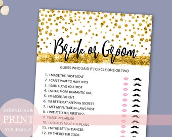 Bride or groom game gold bridal shower games editable he bride or groom game he said she said gold confetti wedding shower games printable games bachelorette games unique bridal shower games solutioingenieria Gallery