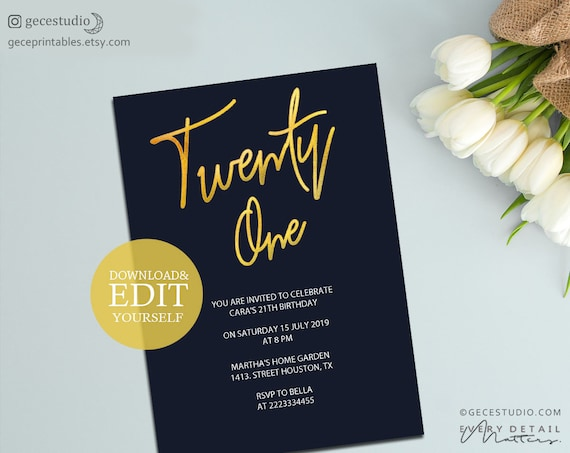 Twenty One Party Invitation Printable Birthday Template Gold And Navy 21st Invite Editable PDF Instant Download