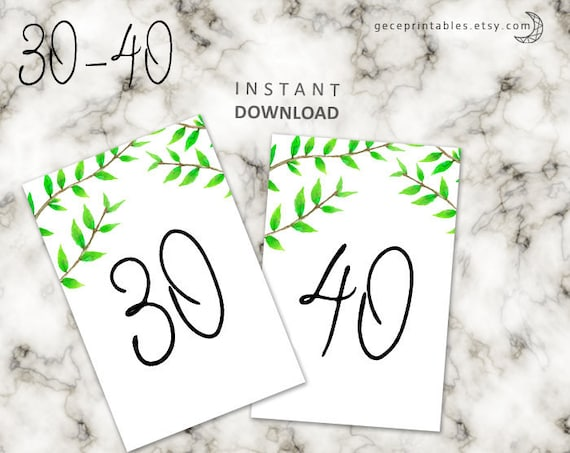 greenery wedding table number printable wedding table number 4x6