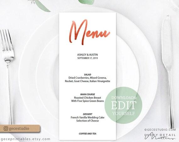 Printable Menu Template Rose Gold Editable Wedding Menu Template