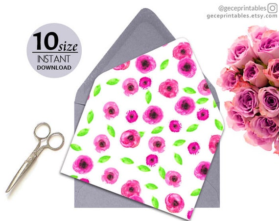 Pink Floral Envelope Liner Template Printable Wedding Watercolor