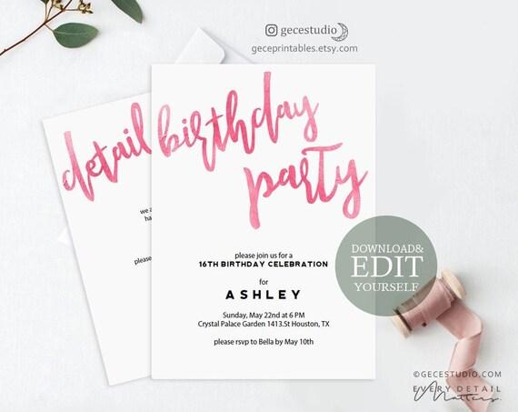 Pink Birthday Invitation Editable Pdf Invitation Template