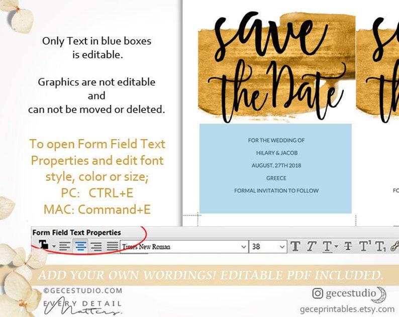 Digital Download GecePrintables Gold Save The Date Editable Template Printable Save The Date invite PDF