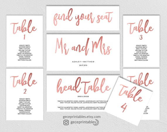 rose gold seating chart template wedding printable seating etsy