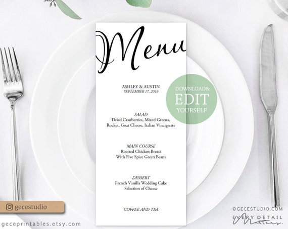 Simple Wedding Menu Template Editable Menu Printable Wedding Menu