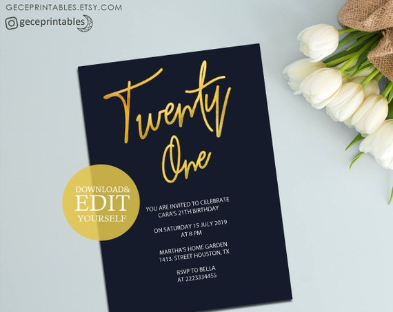 Twenty One Party Invitation, Printable Birthday Invitation Template, Gold and Navy, 21st Birthday Invite, Editable PDF, Instant Download