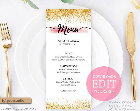 photograph regarding Printable Menu Template called Editable Menu Template Crimson and Gold 4x9 Printable Menu Card