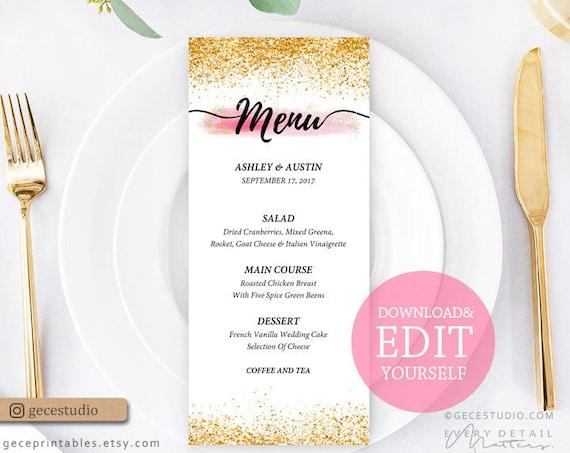 Editable Menu Template Pink And Gold 4x9 Printable Menu Card Wedding Menu Template Digital Download Geceprintables Pgb