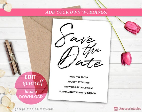 instant download save the date printable editable template etsy