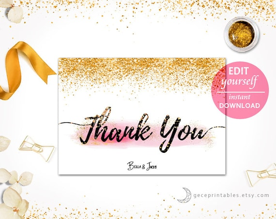 Printable Thank You Card Wedding Instant