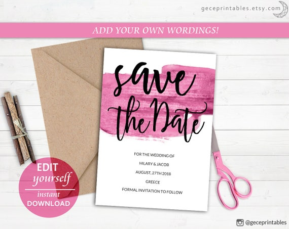 Editable Save The Date Template Pink Brush Printable Save Etsy