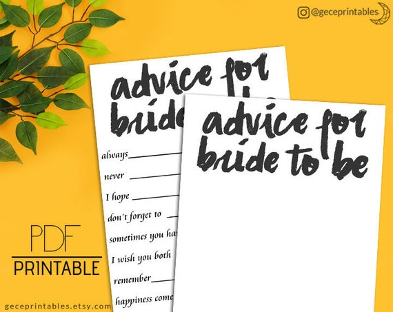 Bridal Shower Advice Cards Printable Advice For Bride To Be