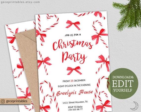 Editable Christmas Party Invitation Instant Download Holiday Party