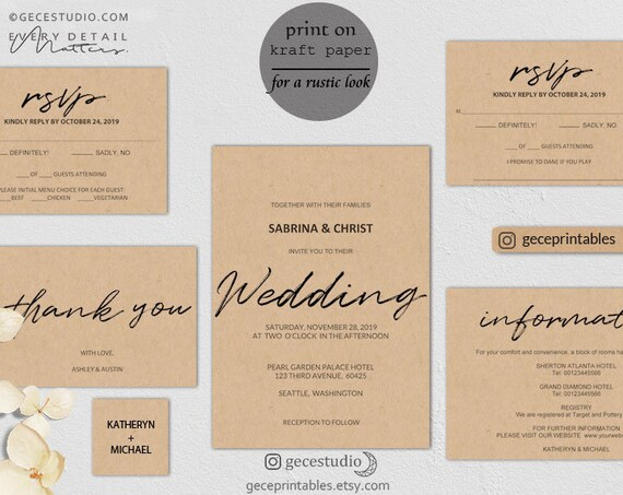 photograph about Printable Wedding Invitation Kits identified as Rustic Wedding day Invitation Package Invitation Suite Editable