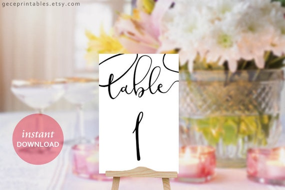 Wedding Table Numbers Calligraphy Printable Table Numbers