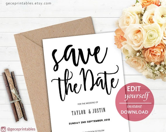 save our date editable template save the date card rustic save