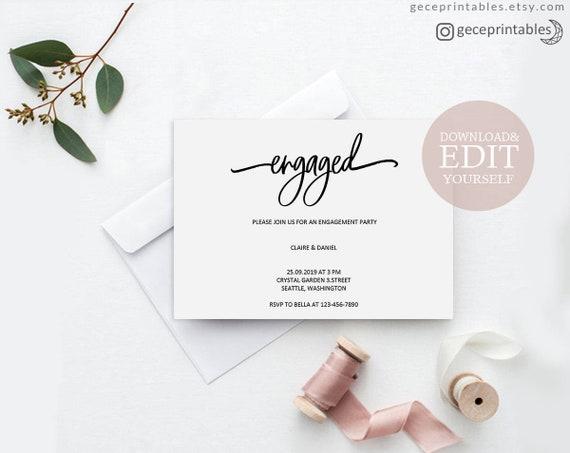 engagement invitation engaged invitation pdf printable engagement