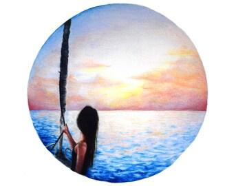 Sunset Sail, Sunset Drawing, Ocean Print, Ocean Art, Sailing, Sailing Art, Sailboat Art, Nature Art, Sunset Art, Sunset Print, Ocean Print