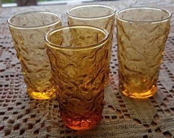 Vintage Mid Century Amber Glass  Anchor Hocking Juice Glasses
