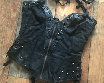 8083dbc21d0fe Corset-Inspired Canvas   Leather Top