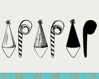 party hat svg/noisemaker svg/clipart/clip art/silhouette/png/cut file/vinyl/digital download/cameo/cricut/vector/svg/stencil/design/sketch