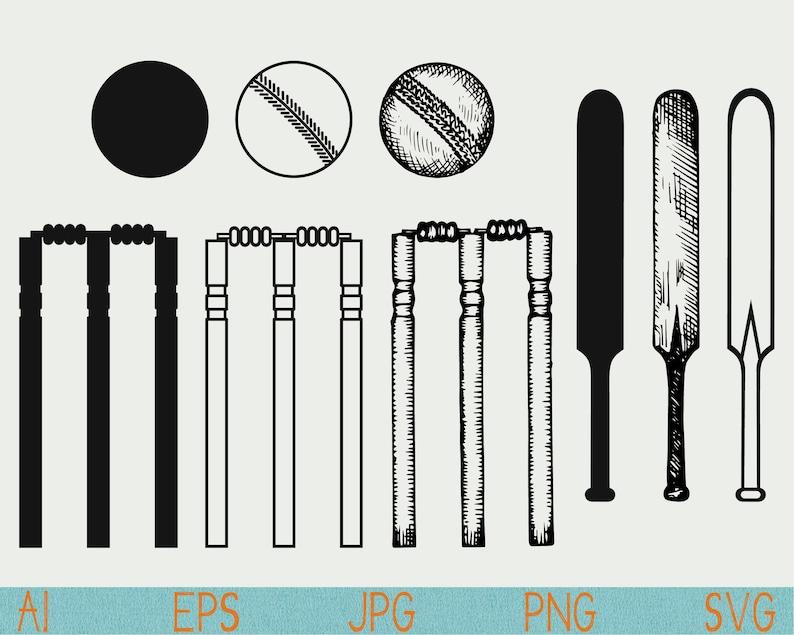 Cricket Svg Cricket Bat Wicket Ball Clip Art Silhouette Png Cut File Vinyl Eps Cricut Vector Clipart Stencil Logo Doodle Sketch Hand Drawn