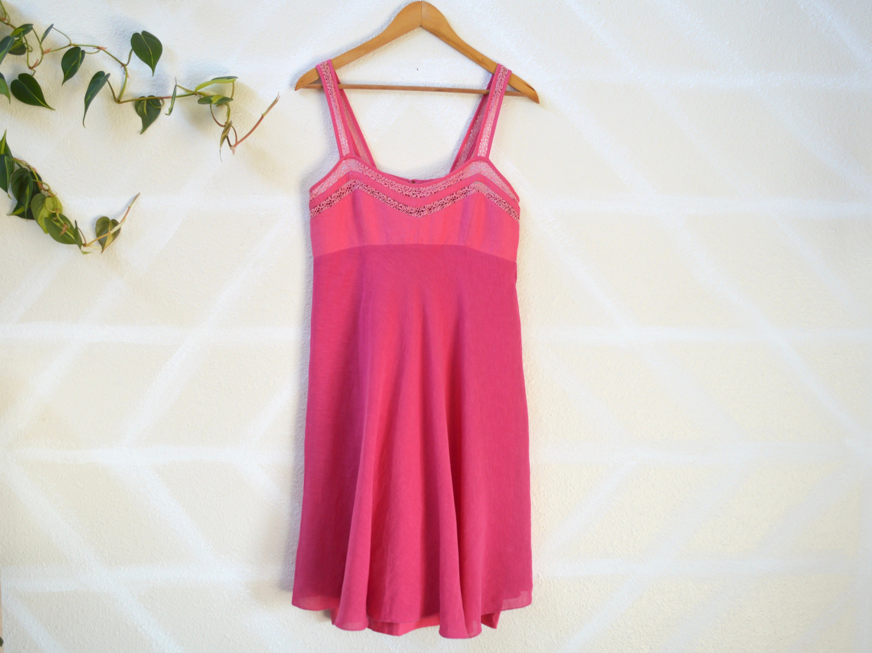 f0b8118b 90s Pink Linen Summer Dress / Swing Skirt Crochet Detailing / | Etsy