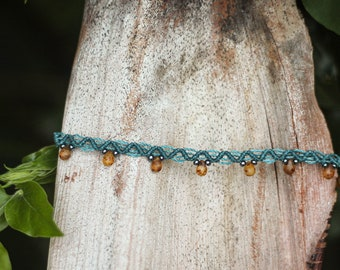 Macramé ankle bracelet, glass drop beads, small rock beads
